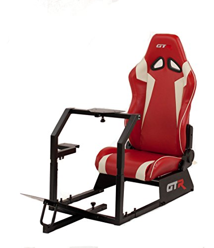 Gtr Racing Simulator Gta Blk S105lrdwht  Gta Model Black Frame With Red White Real Racing Seat  Driving Simulator Cockpit Gaming Chair With Gear Shifter Mount