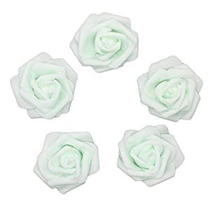 7cm DIY Real Touch 3D Artificial Floral Foam Roses Head Without Stem for Wedding Party Home Decoration-50pcs (Mint-Green) 63