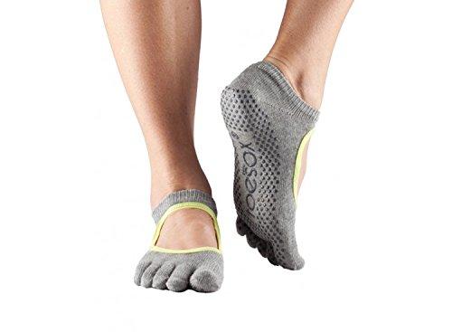 Toesox Grip Bellarina Calze Alla Caviglia, Calze Da Ballo E Può Essere Utilizzato Per Barre, Yoga, Pilates, Calze Antiscivolo Fitness - 1 Paio (medio, Grigio Lime)