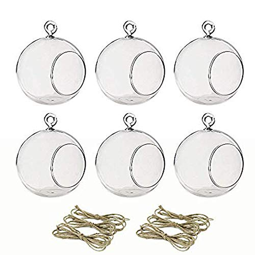 Sfeexun Package Improved Hanging Glass Tealight Holder Globe Plant Terrariums/Glass Orbs Air Plants Tea Light Candle Holders Home Decor Indoor Outdoor Garden (Without 2 Holes, 6 Pcs + 2 Pcs)