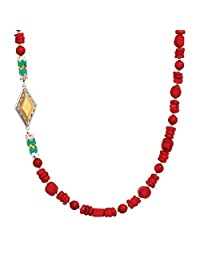 Silpada 'Under the Sun' Sterling Silver, Brass, Coral, and Howlite Necklace, 30""