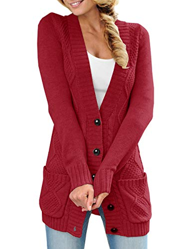 Womens Cardigan Sweaters Long Button Down Chunky Cable Knit Open Front Tops Outerwear Coats by Farktop (Image #1)