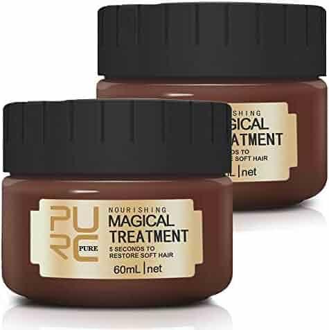 Magical Hair Treatment Mask, Advanced Molecular Hair Roots Treatment Professional Deep Hair Conditioner, Restore Soft Hair, Moisturizing and Repairing Dry & Damaged & Colored Hair (2×60ML)