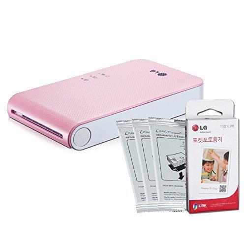 [SET] New LG Pocket Photo PD241 PD241T Printer [Pink] (Follow-up model of PD239) + LG Zink Photo Paper [30 Sheets] by LG