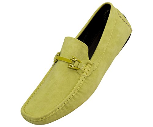 - Amali Mens Smooth Faux Leather Casual Driving Shoe with Buckle, Comfortable Easy Slip-On Moccasin Lime