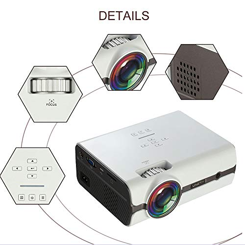 HLKYB Home Projector, LED Mini Home Theater Video Projector with iPhone/Ipad/TV Stick/Laptop PC/Smartphone for Multimedia Home Cinema Theater,Blackordinary