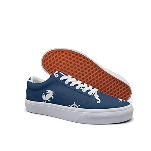 VCERTHDF Print Trendy Sea Pattern. Anchor, Dolphin, Crab, Steering Wheel And Sea Horse Low Top Canvas Sneakers