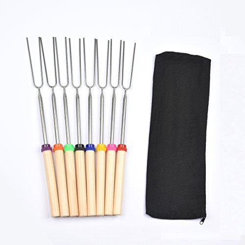 winga Roasting Sticks, Marshmallow Roasting Sticks,Hot Dog Roasting Sticks 32 Inch Extendable Forks for BBQ at The Campfire, Set of 8