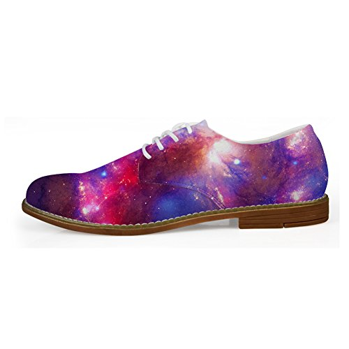 Pattern Galaxy Fashion Up Shoes Flats Lace Mens 1 Galaxy HUGS Oxford IDEA 1BUUR
