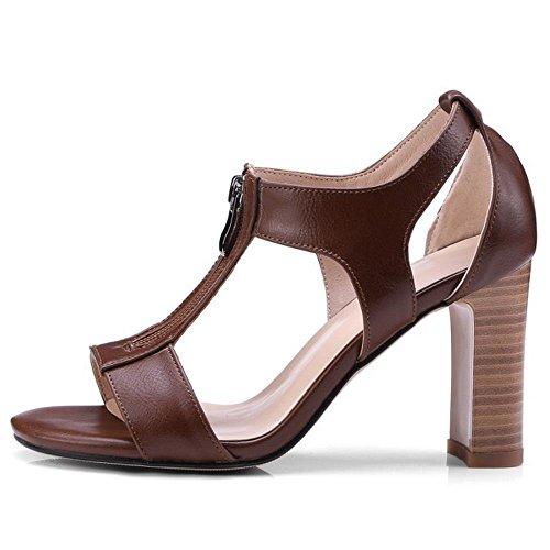 Shoes Brown Dark Summer Women Fashion Heels Zanpa 7qSFt4w