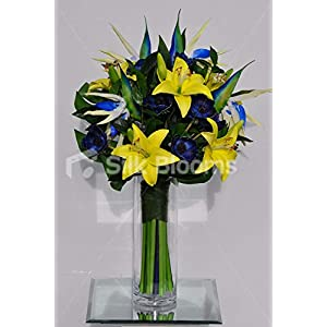 Silk Blooms Ltd Artificial Yellow Oriental Lily and Blue Anemone Vase Arrangement w/Bird of Paradise 33