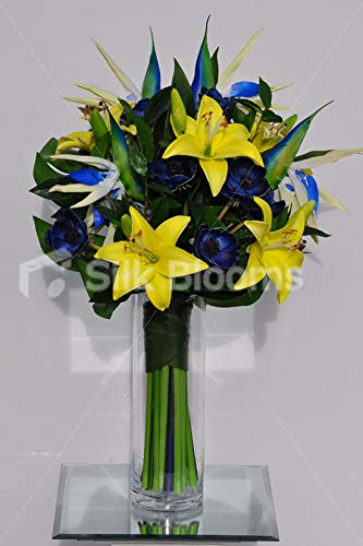 Silk Blooms Ltd Artificial Yellow Oriental Lily And Blue Anemone