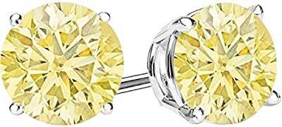 1/2 - 10 Carat Total Weight Yellow Diamond Stud Earrings 4 Prong Push Back by Houston Diamond District