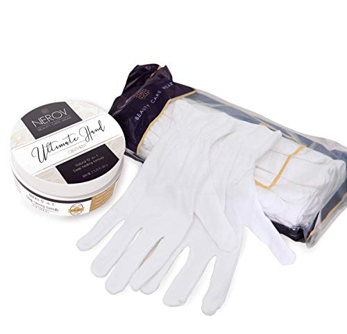 Beauty Care Wear Ultimate Hand Spa for Eczema, Dry Skin, Moisturizing - 20 White Cotton Gloves + Natural Lotion Cream