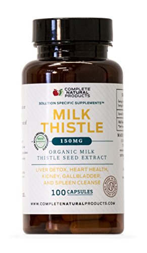 Organic Milk Thistle Seed Powder Extract - 150 mg Capsules 100 Pills Liver Detox, Heart Health, Kidney, Spleen Cleanse