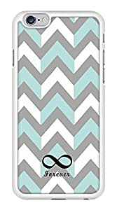 Gray and Turquoise Chevron Zig Zag Infinity Forever Snap-On Cover Hard Plastic Case for iPhone 6 (White)
