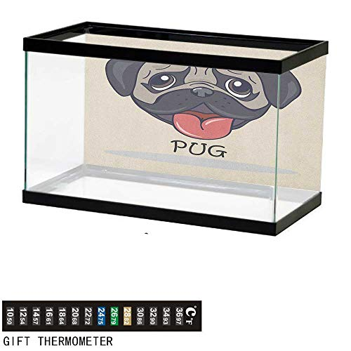 (PugFish Tank BackdropCartoon Pug Dog Caricature with Its Tongue Out Happy Face Animal Fun Illustration30 L X 18