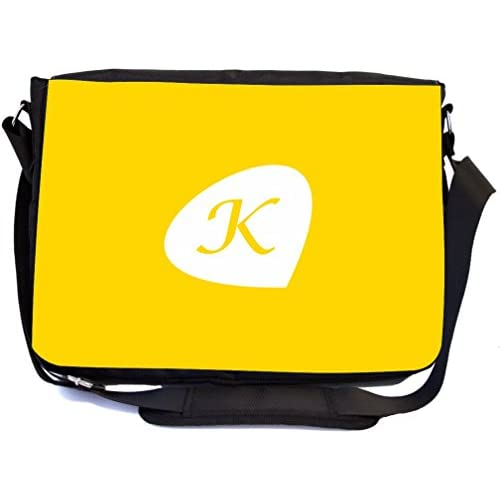 """Rikki Knight Letter """"K"""" Initials Freesia Yellow Color Petal Leaves Design Multifunctional Messenger Bag - School Bag - Laptop Bag - Includes Matching Compact Mirror"""
