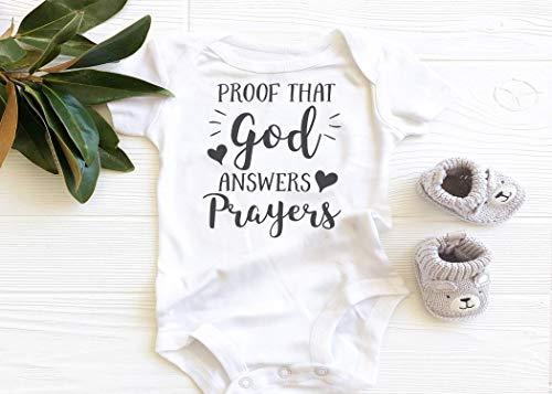Proof that God Answers Prayers Baby Bodysuit, boho baby girl baby boy onesie, cute baby onesie, christian faith religious ()