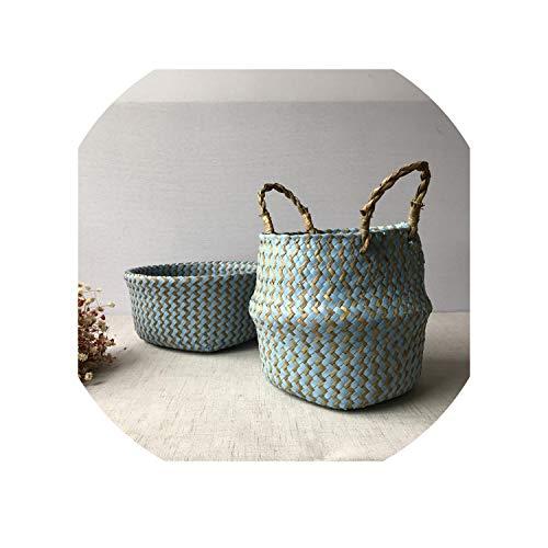 2019 Foldable Handmade Seagrass Storage Basket Wicker Rattan Belly Straw Garden Flower Pot Wave Pattern Planter Laundry Basket,Blue,23cm