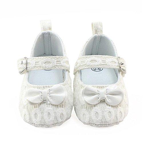 Hunpta Neugeborene Baby Mädchen Blumen Krippe Schuhe Weiche alleinige Anti-Rutsch Turnschuhe Weiß