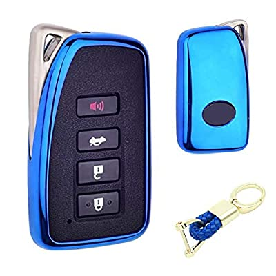 Royalfox(TM) 2/3/4 Buttons Soft TPU Smart keyless Remote Key Fob case Cover Shell for Lexus RX is CT GS NX ES RC RCF GSF es300 es330 es350 RC200 RC300 RC350 is300 is250 is350 (Blue)