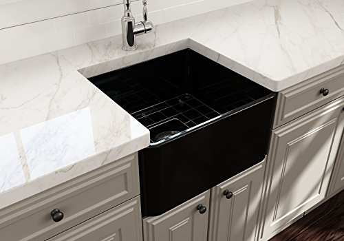 (Classico Farmhouse Apron Front Fireclay 20 in. Single Bowl Kitchen Sink with Protective Bottom Grid and Strainer in Black)