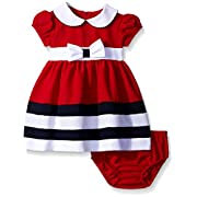 Bonnie Baby Peter Pan Collar Nautical Dress and Panty Set, Red, 0-3 Months
