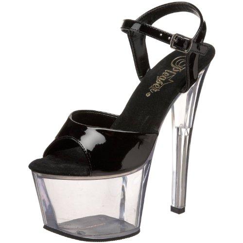Women's 7 Inch Spike Heel Platform Sandal (Black/Clear;10)