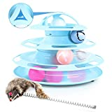 Pecute Cat Toy Tower of Tracks Cat Roller Toy with Interactive Teaser Mouse - 4 Tier Cat Tower of Track Toy with Catnip and Flash Balls