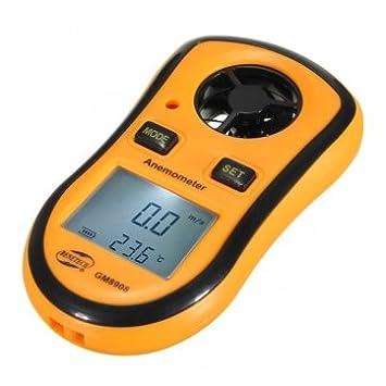 GM8908 viento bolsillo medidor de velocidad anemómetro metros termómetro digital
