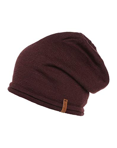 Chillouts Leicester Warm Soft Merino Wool Slouchy Beanie (Bordeaux)