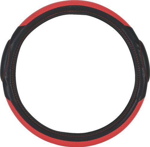 Pilot SW-68R Faux Leather Universal Fit Steering Wheel Cover - Black and Red