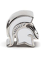 MSU White Spartan Sideview Bead Charm - Fits Pandora & Others