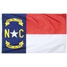 Annin North Carolina State Flag 3x5 ft. Nylon SolarGuard Nyl-Glo 100% Made in USA to Official State Design Specifications by Flagmakers. Model 143960