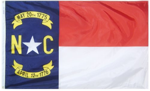 Annin Flagmakers Model 143960 North Carolina State Flag 3x5 ft. Nylon SolarGuard Nyl-Glo 100% Made in USA to Official State Design Specifications. ()