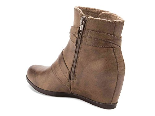 Fashion Closed Ankle Toe Brown Boots Traps Bare Womens Tainya 1qtpYYB
