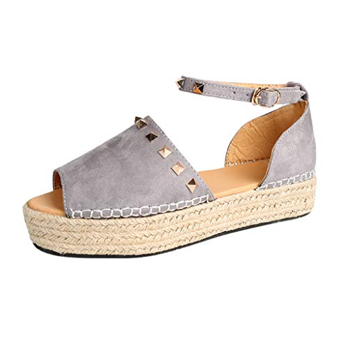 ◕‿◕Watere◕‿◕ Womens Espadrilles Platform Sandals Ankle Strap Peep Toe Shoes Wedge Ankle Strap Studded Open Toe Sandals - Womens Dawgs Fleece