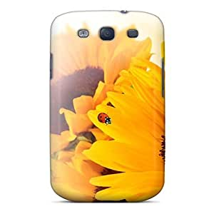 Anti-scratch And Shatterproof Sunflower Ladybug Fun Phone Case For Galaxy S3/ High Quality Tpu Case