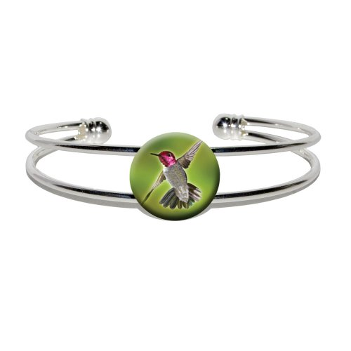 Anna's Hummingbird - Bird - Novelty Silver Plated Metal Cuff Bangle Bracelet