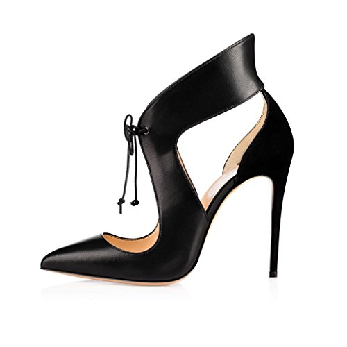 EDEFS Womens Pointed Toe High Heel Court Shoes Lace Up Stiletto Pumps Dress Shoes Black PIaUCtAr4