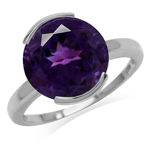 5.11ct. 12MM Natural Round Shape African Amethyst 925 Sterling Silver Solitaire Ring Size 6