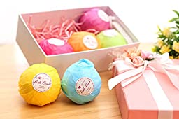 Bath Bombs Gift Set 6 X 4.5 OZ With A Free Pumice Stone Vegan Pure Natural Bath Ultra Spa Fizzies Hand Made Organic bath bubbles Mothers Day Gifts (6X4.5 OZ)