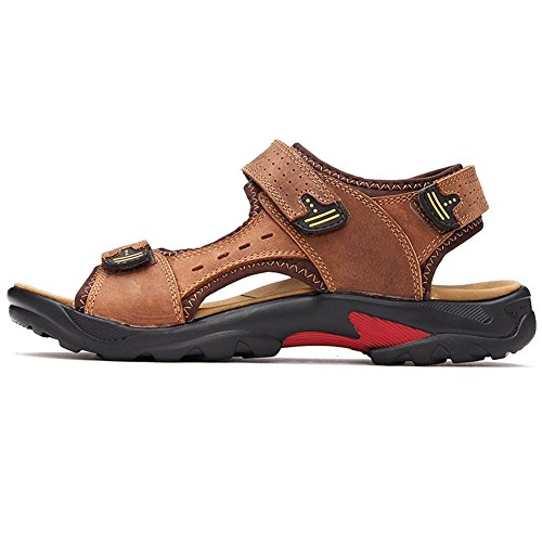 Brillunt Gents Ultra-light Open-Toe Hook-and-loop Strap Sandal Holiday Fisherman Outdoor Leather MSD009 Light Brown RNwEW