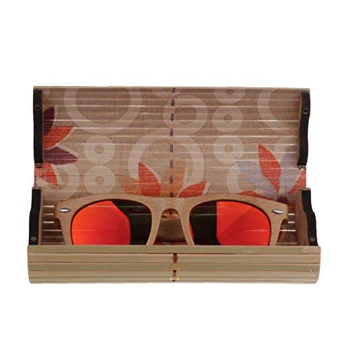 de rouge Soleil Lunette Hommes Femmes boîte Bois de Lunette Polarisées Verre Boîte Cadre MagiDeal en Bambou qxUZRtqvw