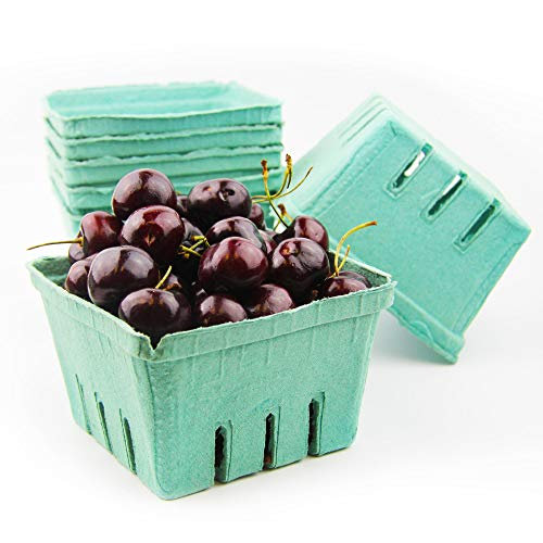 [44 Pack] Quart Green Molded Pulp Fiber Berry Basket Produce Vented Container for Fruit and Vegetable, Farmer Market, Grocery Stores and Backyard Party ()