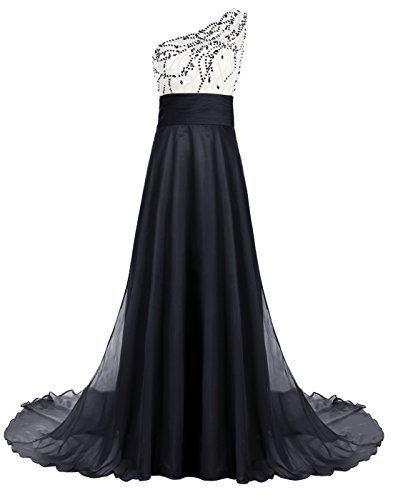 ALAGIRLS One Shoulder Beaded Long Prom Dress Chiffon Evening Gown With Train NavyUS12 (Dress Johnny Formal)
