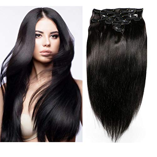 Friskylov 24Inch 120g Clip in Human Hair Extensions Natural Black Straight 100% Remy Human Hair Clip in Extesnions Double Weft Thick Hair 8A Grade 8Pcs/Lot with 20Clips (Best Remy Hair Extensions Brand)