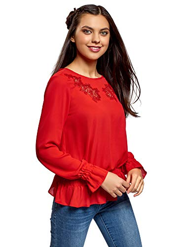 oodji Ultra Women's Elastic Waist Blouse with Openwork Embroidery, Red, 8