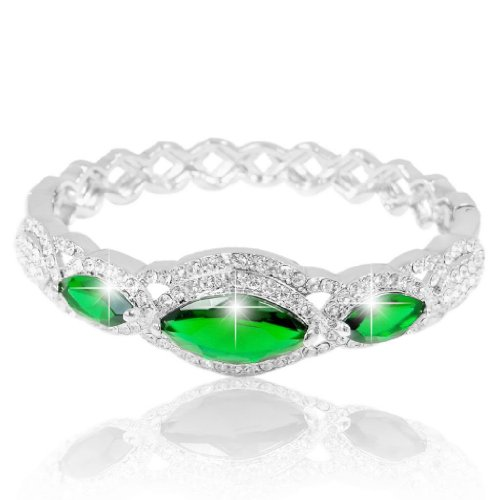 Green Rhinestone Bangle - EVER FAITH Women's Austrian Crysta Zircon Drop Marquise-Shape Bangle Bracelet Green Silver-Tone